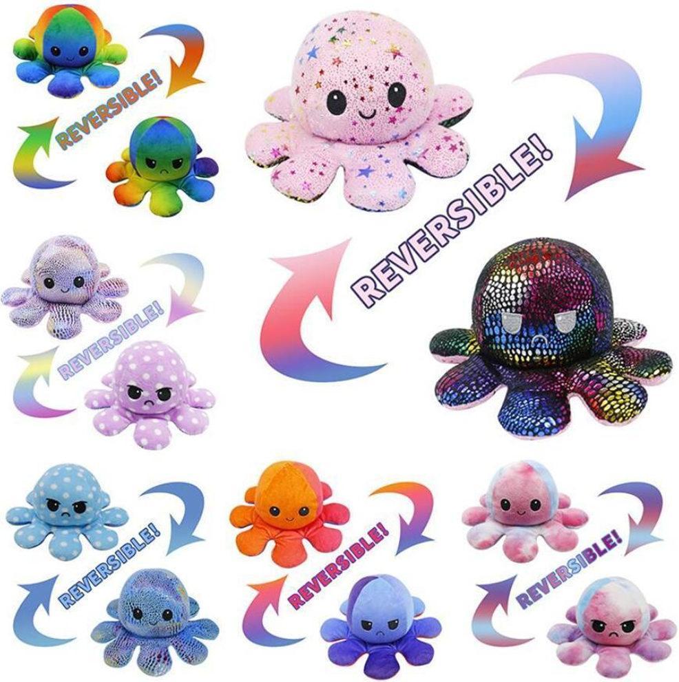 Реверсивный Flip Octopus Фурсированная кукла Мягкая моделирование Обратимая плюшевая игрушка Цветовая Главная плюшевая кукла заполнена плюшевая детская игрушечная вечеринка