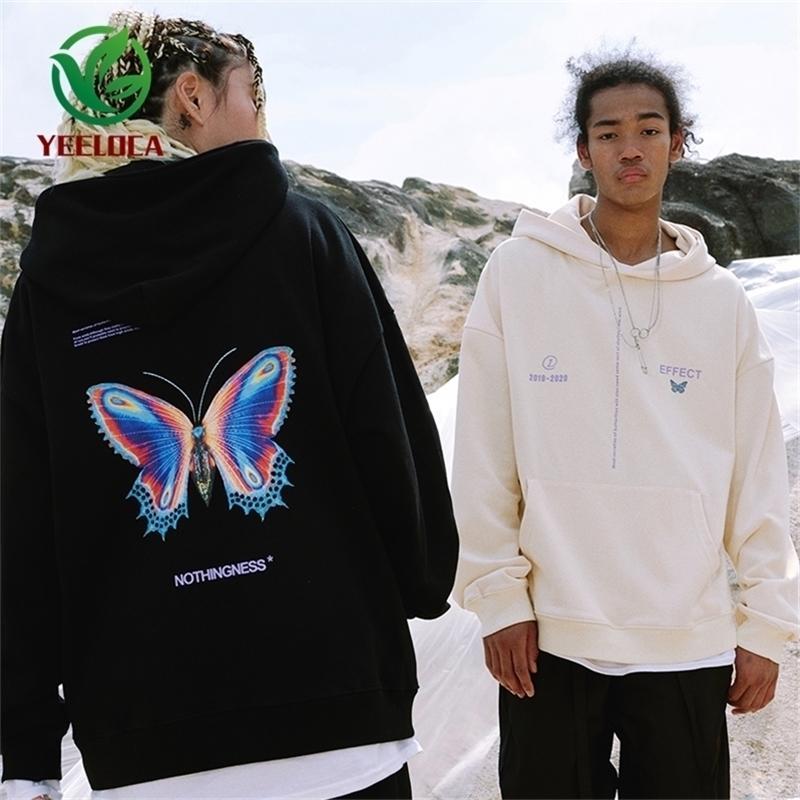 Dropshipping otoño invierno hip hop moda mariposa estampado suelto hombres y mujeres deportes sudadera con capucha joven pareja tops y201123