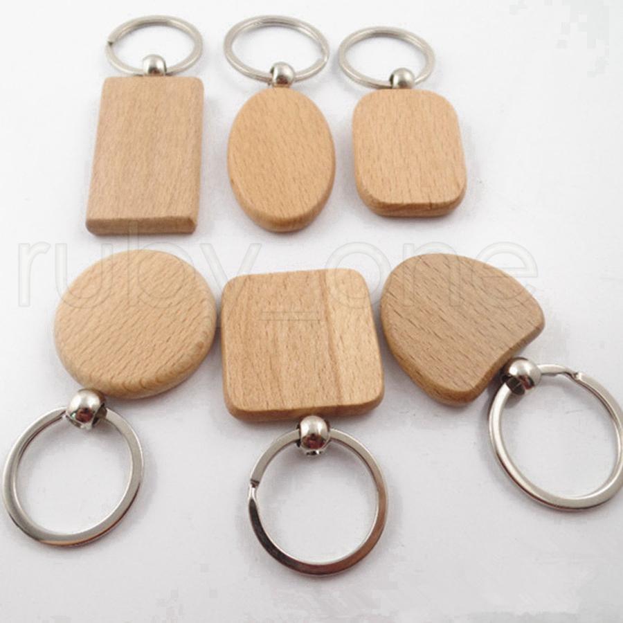 الإبداعي DIY خشبية سلاسل المفاتيح مفتاح جولة ساحة مستطيل الشكل فارغة الخشب سلاسل المفاتيح مفتاح حامل هدايا حزب صالح 13styles RRA3793