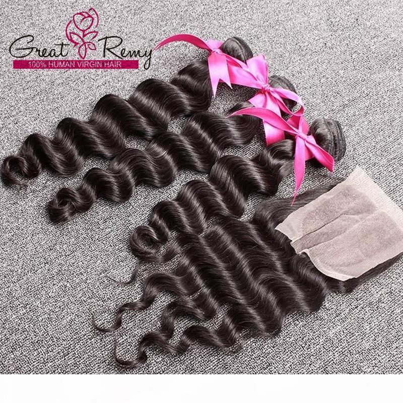"""3pcs Péruvien Hair Weave Extensions Couleur naturelle Wavy Lâdre une onde profonde 1PC Partie centrale supérieure de la dentelle de dentelle 4 """"x4"""" avec des paquets de cheveux"""