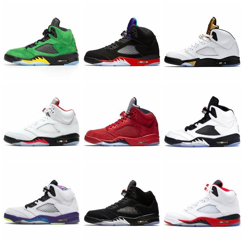 Перейти мужчина 5S Мужчины Баскетбол обувь 5 Мужские Кроссовки Огонь красный для 2020 SE Oregon Alternate винограда Bred Дешевые Спорт Кроссовки Размер 40-47