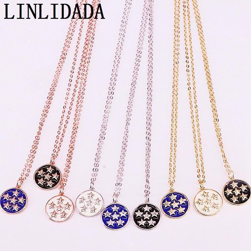 Ketten 12 stücke Mix Farbe Email Runde Anhänger Halskette Party Modeschmuck für Frau1