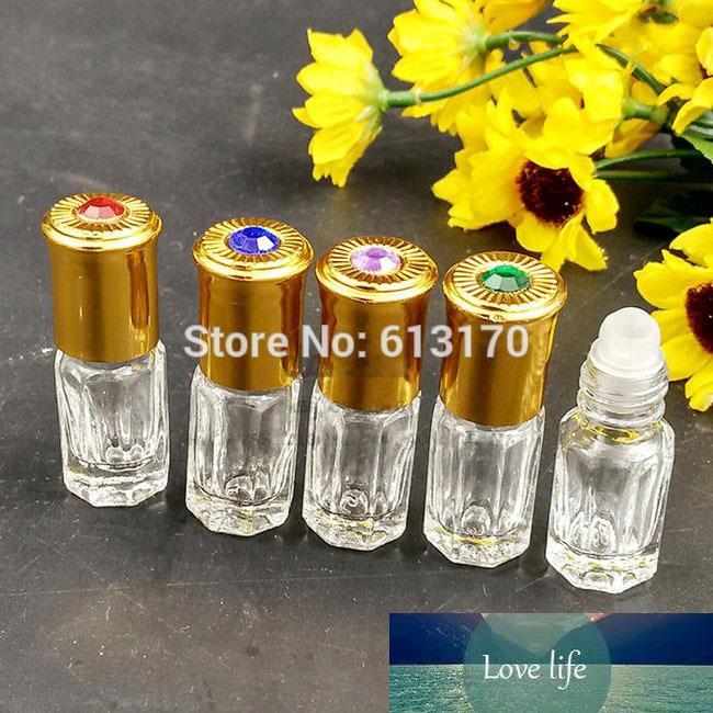 6 ml, 9 ml, 12 ml Clear Cam Rulo Şişe Boş Uçucu Yağ Altın Kap Parfüm Şişesi Taşınabilir Küçük Örnek Flakon Cam Rulo