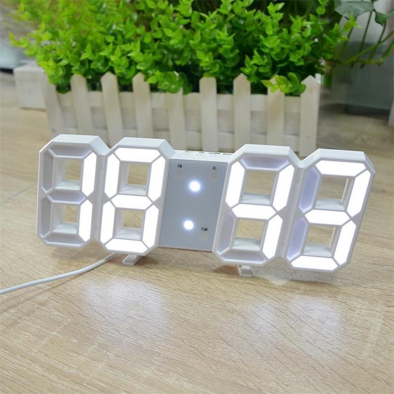 Reloj LED Digitaluhr für Home Office Decoration USB Ladung Elektronische Wanduhr mit Batterie Schlafzimmertisch Digitale Klok Y200109