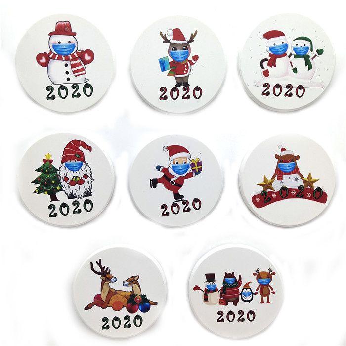 Celebridade do navio de cerâmica para 2020 DHL Partido Snonman Santa Deer Casa de Natal 100 pcs frigorífico favores Ímãs Decor FY4312 HNiov
