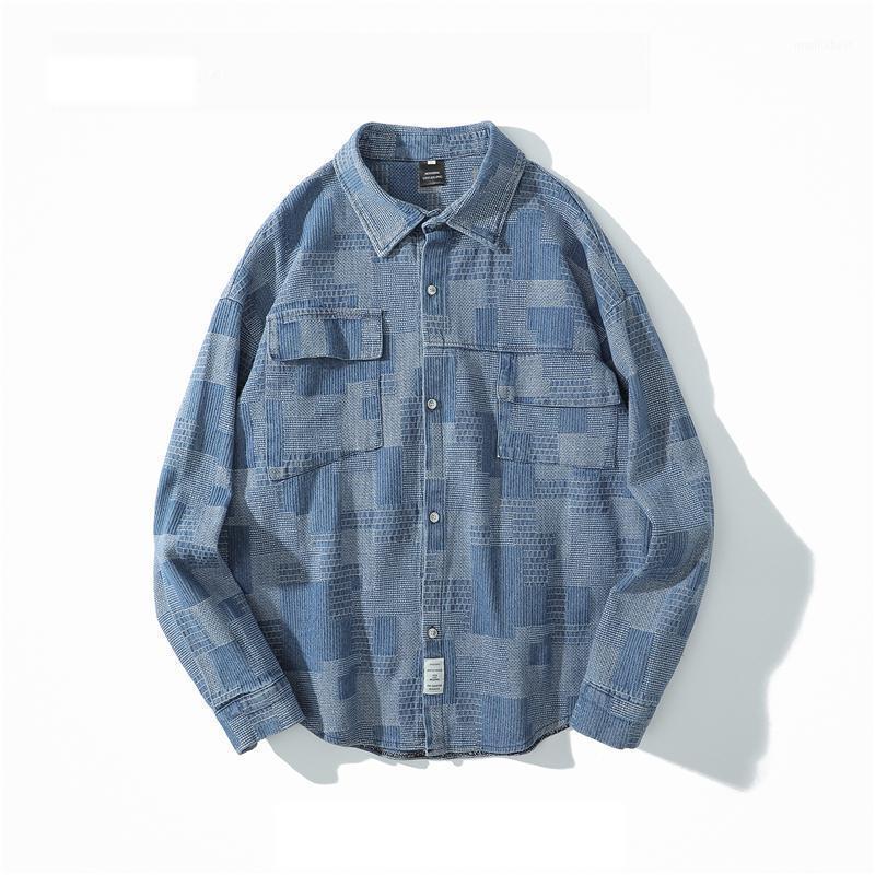 Otoño Invierno Harajuku estilo retro étnico tejido labellona camisa de mezclilla japonesa moda adolescente ropa de manga larga para hombres mujeres1