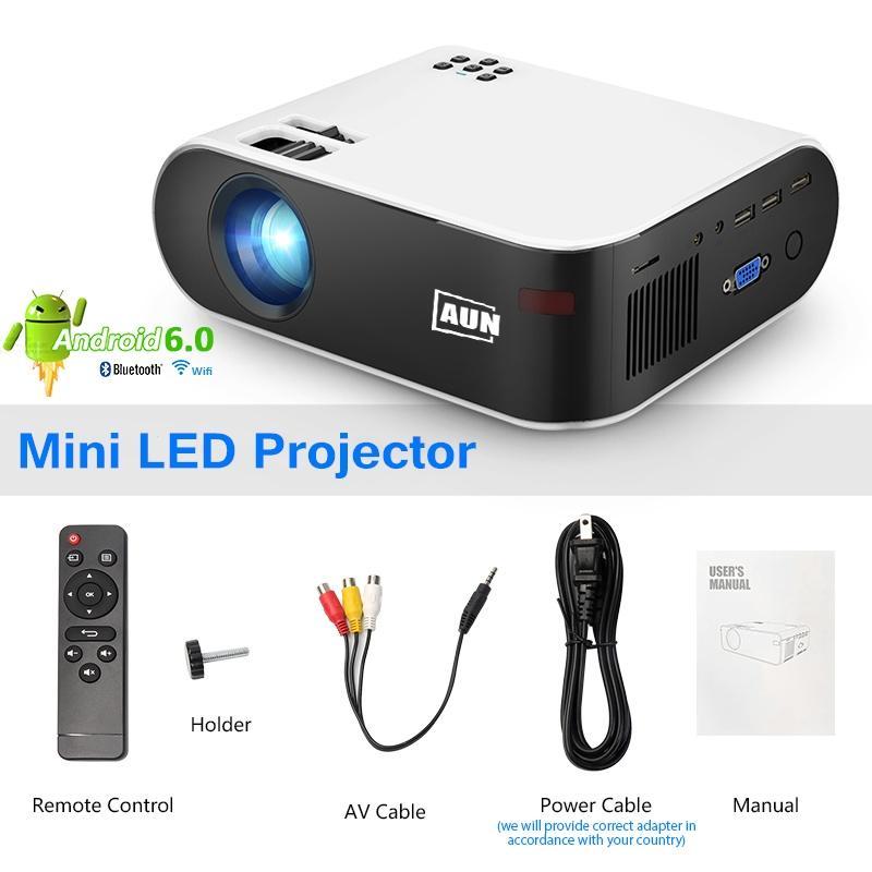 AUN MINI Projektör Full HD 1080 P Video LED Projektör Android Wifi Akıllı Ev Sineması Film W18C Telefon Için Kablosuz Sync Ekran
