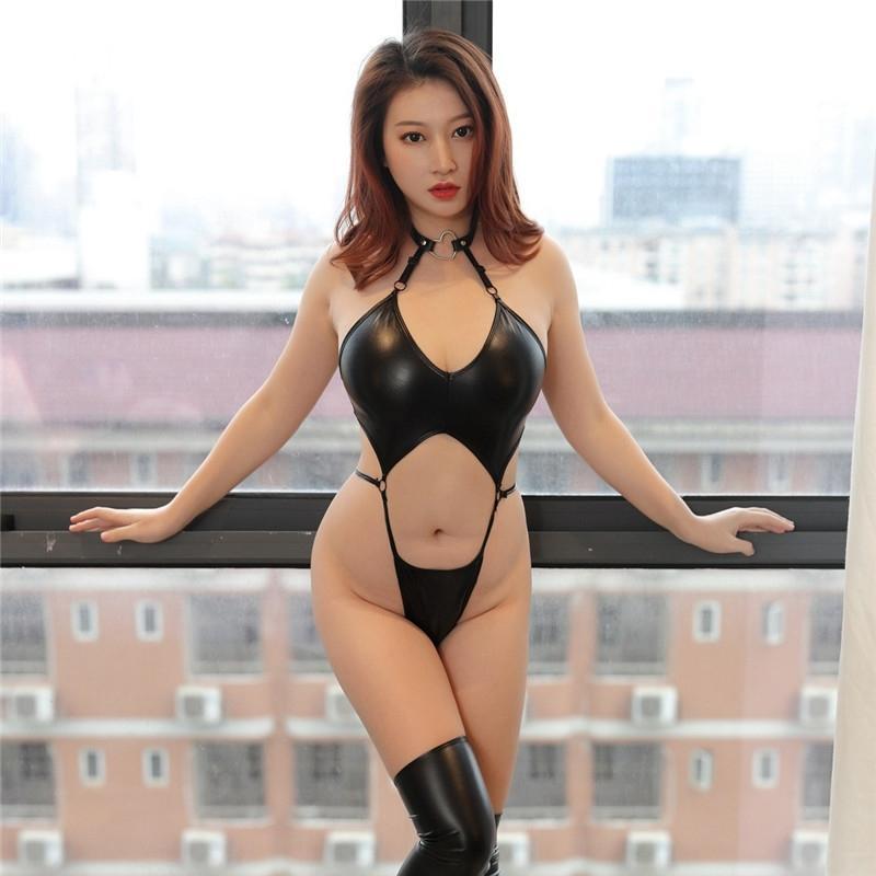 Новые сексуальные PU искусственные кожаные готические боди + чулки ПВХ латексный кассуит в духовке Clubwear Fetish горячая эротическое белье