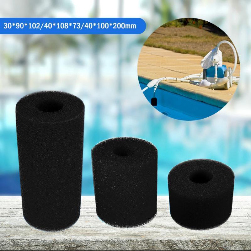 3 Tamaños Negro Blanco Piscina Filtro esponja de la espuma Intex tipo reutilizable lavable cartucho de espuma de burbujas Traje Intex Bañera