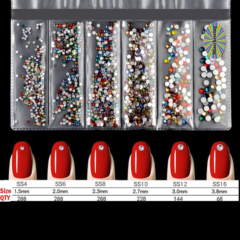 Multi-tamaño de los cristales de manicura de uñas diamantes de imitación Decoración Strass Hadas Piedras Para diseños 3D Nails Accesorios 20 colores