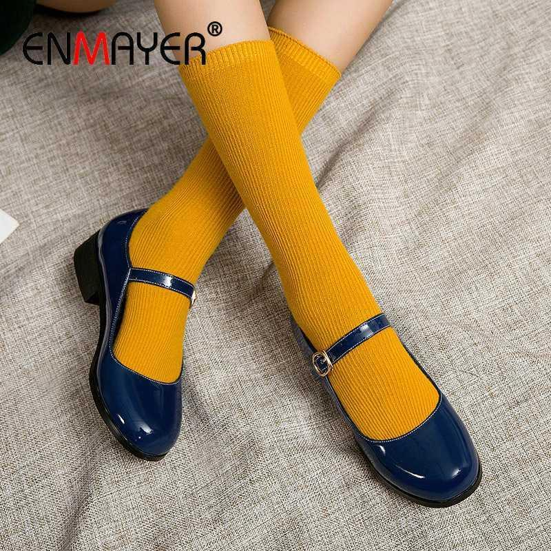 ENMAYER Wedding Shoes Square Heel Patent Leather Round Toe Buckle Strap Casual Spring/Autumn Women Heels Classics Women Shoes1