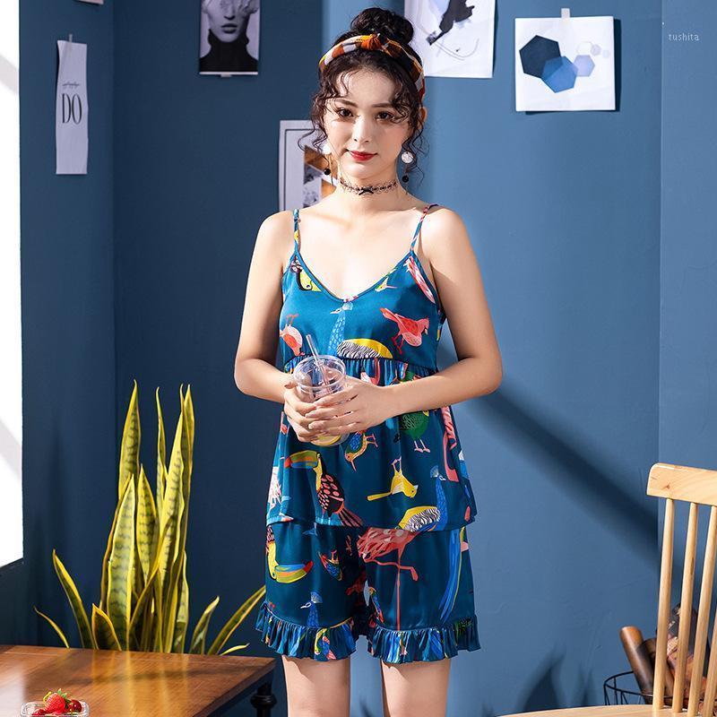 Женское белье спящие одежды платье женские атласные цветы печати шелковое белье лук ночная одежда Pijamas1