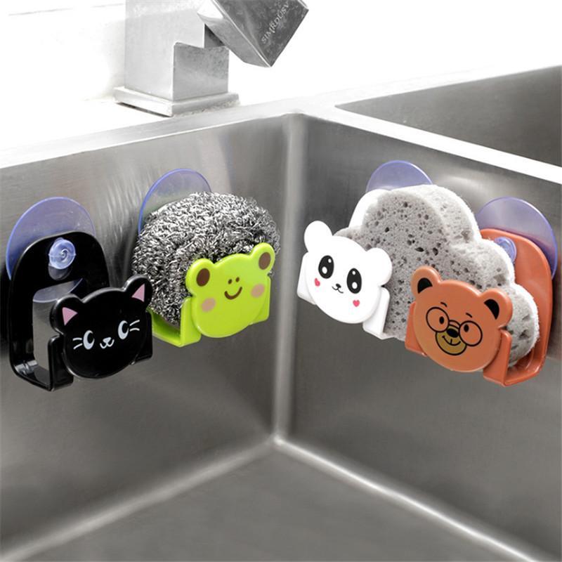 1pcs Creative Carton Crochet Porte périphérique de stockage avec ventouse Accueil Décoration Accessoires de cuisine Hook Up Gadget