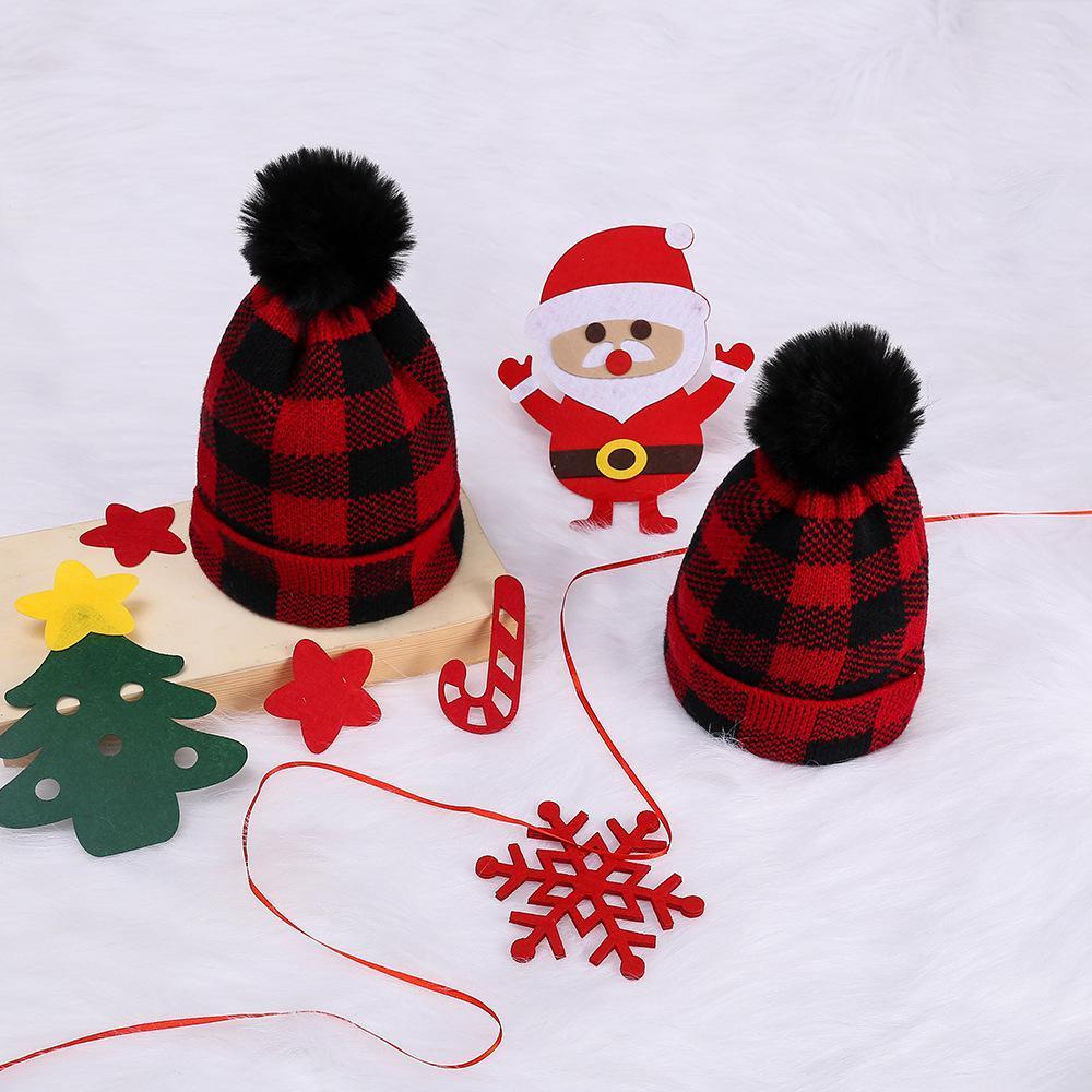 Plaid Parent-child Beanies Baby Moms Winter Knitted Hats Warm Crochet Skulls Caps Outdoor Pom Pom Beanie Fur Ball Hats GGA3774-1