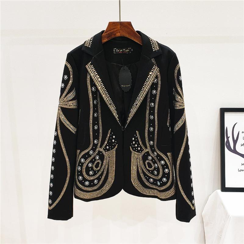 Jaquetas femininas metal jaqueta frisada mulheres goth goth colarinho feminino curto magro preto retro casaco vintage primavera outono festa coquetel