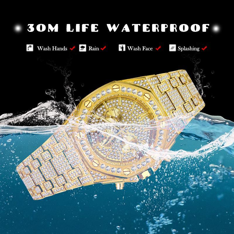 Dropshipping Big Hommes Montres 2020 Design de luxe Classic Étanche Silver Bling Bling Watch Bracelet en acier inoxydable Bracelet Montre-Bracelet Horloge