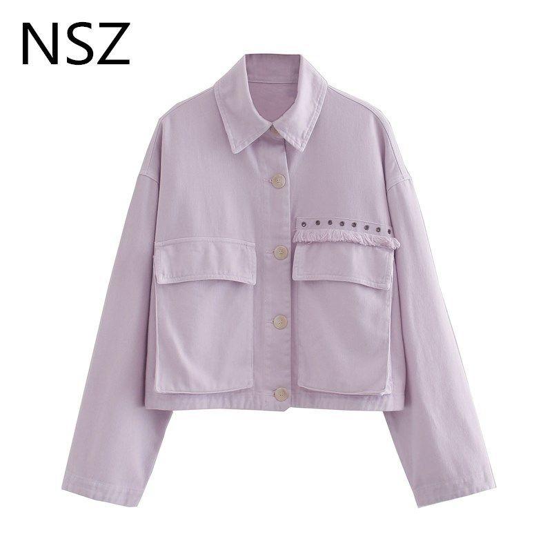 NSZ donne nappa viola jeans potati giacca di jeans oversize tasca del cappotto gira verso il basso in alto collare raccolto outwear streetwear outwear 201013