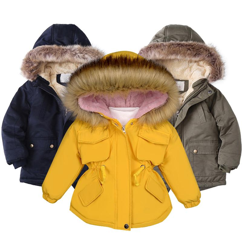 Baby Girl Denim Jacket Plus Fur Warm Toddler Children's winter girl's cotton padded clothes baby's thickened cotton padded coat Q0109