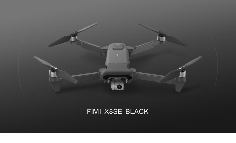 Xiaomi FIMI X8 SE VOYAGE Version 4K 5km FPV Faltbare GPS RC Drohne mit 3-Achs-Gimbal 33 Minuten Flugzeit RTF Schwarz - Zwei Batterien mit Tasche