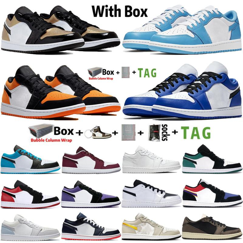 2020 Kutusu Jumpman ile Düşük 1 1s UNC Obsidiyen Erkek Basketbol Ayakkabıları Travis Scotts Paris Hiper Kraliyet Havaları Eğitmenler Retro Spor Sneakers 36-45
