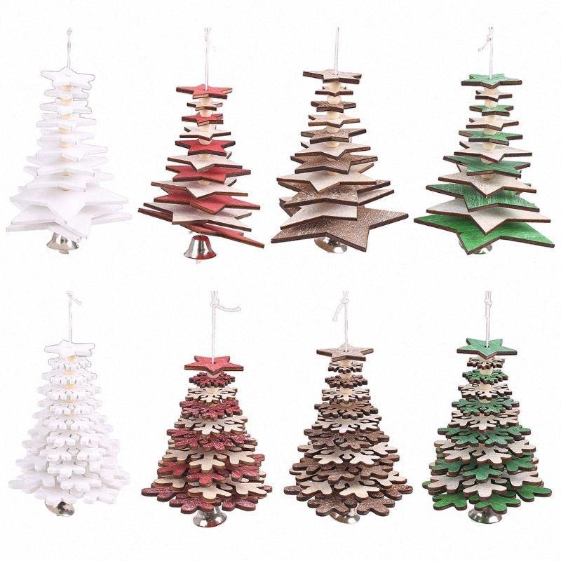 2pcs / set rotazione l'albero di Natale 3D Stella Fiocco di neve con la campana ciondoli appesi in legno per Home Office Decor M76D VQXf #
