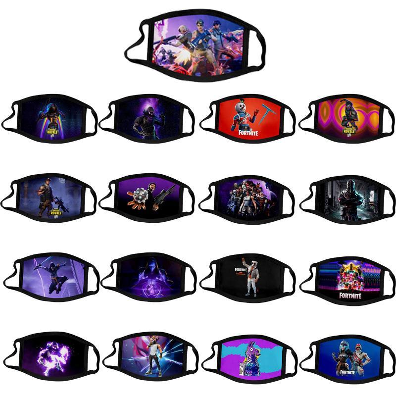 hielo diseñador de máscaras de seda Fortnite pvp PM2.5 equipo de combate juego de dibujos animados para adultos niños de polvo suave de la máscara máscaras del arma de impresión reutilizables lavables transpirables