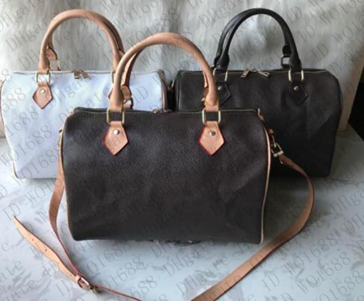 Hotselling Speedy Women Hxmou Bolso Bolso Real PU Bolsa Classic Bag Hombro Luxurio de lujo Oxidando Pedro de la almohada Polso Qhbvg