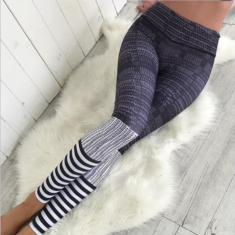 2020 Fitness Mode Polyester Leggings gestreiftes Muster Digital gedruckte Frauen Workout Sexy dünne Gamaschen-Tropfen-Verschiffen