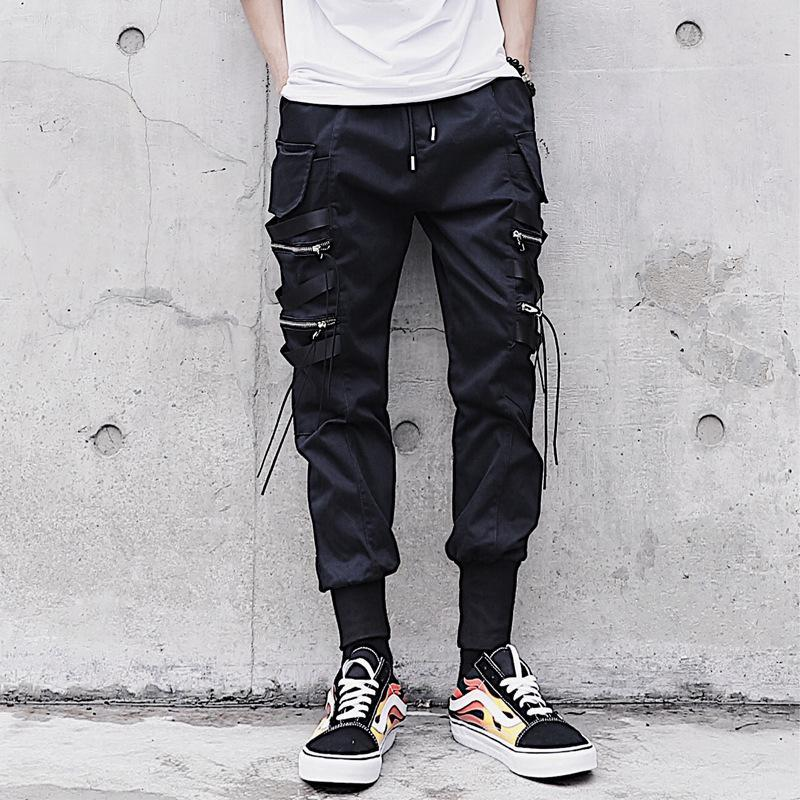 Hip Hop Style Mens Pants Pocket Zipper Decor Solid Black Locomotive Fashion Breathable With Stretchy Spring Autumn Male Trouser