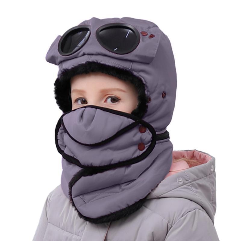 4 en 1 chaud Chapeau d'hiver pour enfants Chapeau avec coupe-vent multifonctions visage couverture du cou Lunettes Gaiter Trapper Garçons Filles Bomber Cap