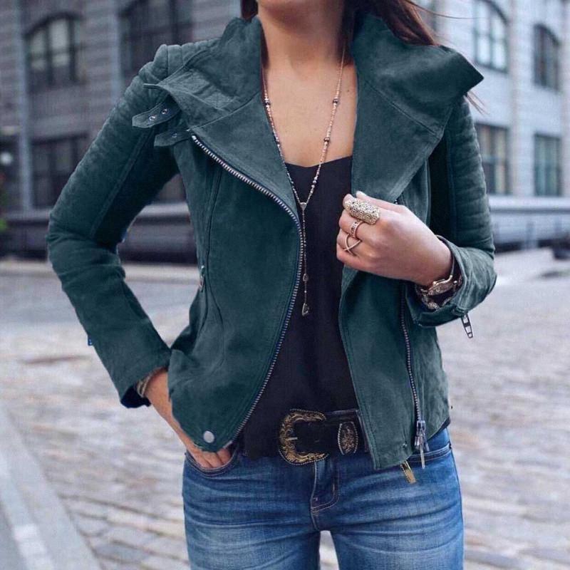 Señoras para mujer del remache retro de cremallera hasta la chaqueta de bombardero capa ocasional delgada de la cremallera Outwear collar Negro Moto Mujer Chaqueta de motorista # 8.16 Y7P4