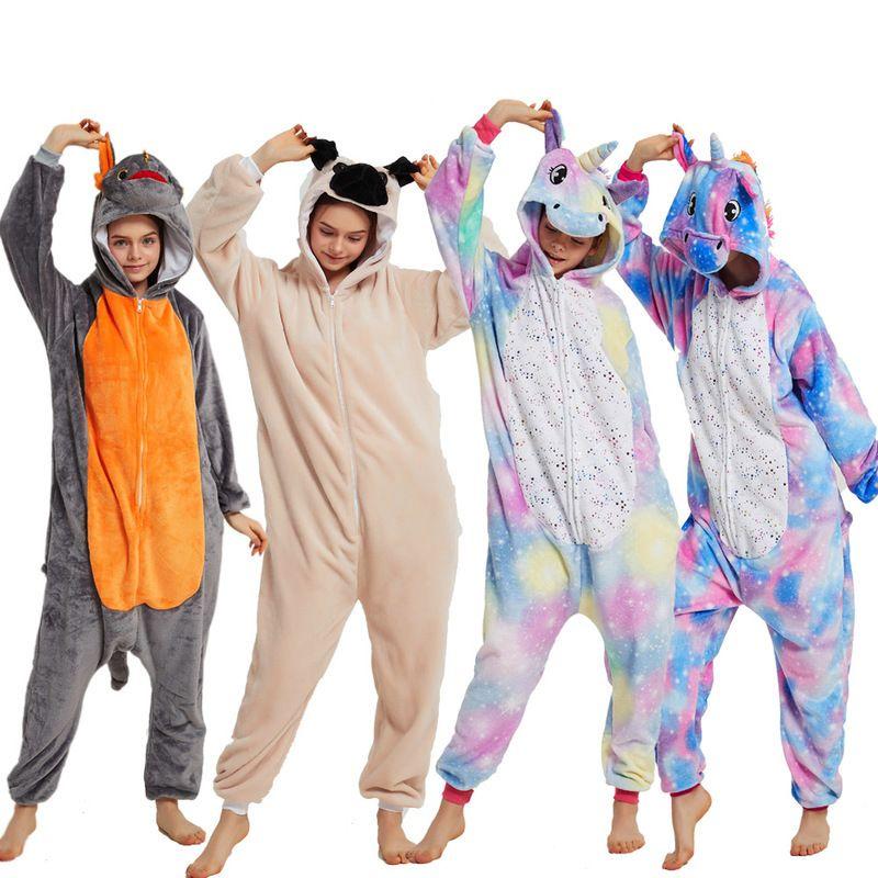 Kigurumi bébé Enfants Onesies Pyjama pour adultes One Piece Flanelle Unicorn Pyjama Pyjama enfants