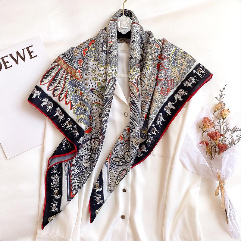 Foulard Satin Écharpe foulard foulard de soie foulards pour dames à la main à la main ourlet ourlet écharpe 90 Foulard Luxe