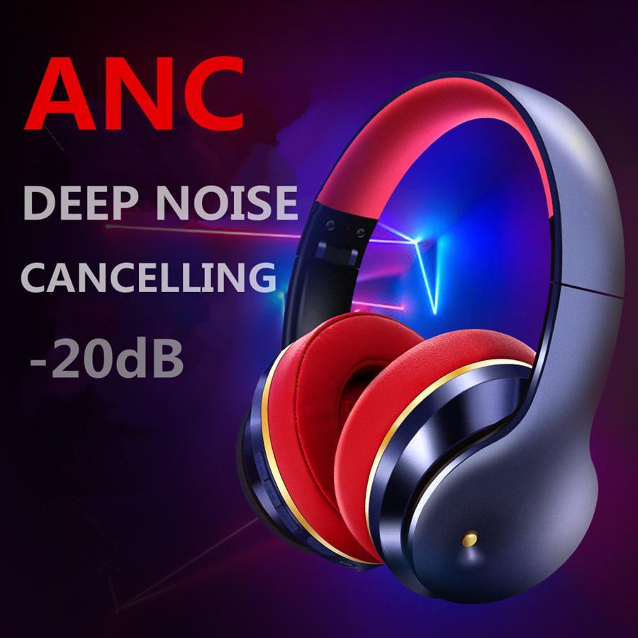 ANC rumore attivata Cuffia Bluetooth 5.0 auricolare senza fili di gioco trasduttori auricolari delle cuffie Hi-Fi con microfono pieghevole