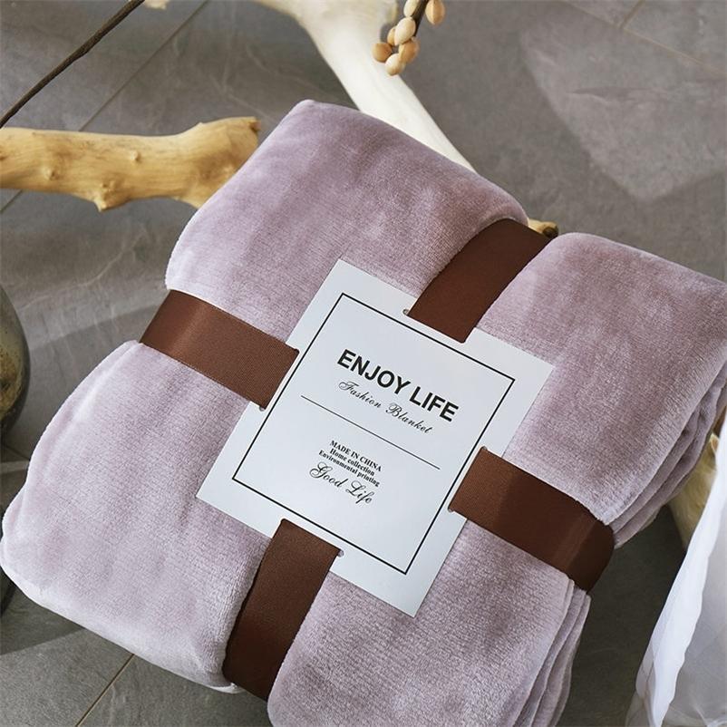 Bonenjoy 380GSM addensare la coperta più calda per il copriletto di flanella in pile invernale per il letto Purple Colour Sherpa Coperta sul letto 201222