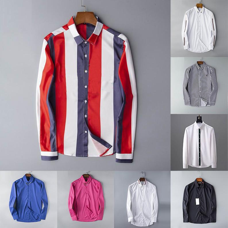 NUEVO VENTA DE VENTA DESIGNER MENS VESTE T SHIRTS Moda Casual Camisa Marcas Hombres Camisas Spring Otoño Slim Fit Camisas Chemises De Marque Vierta Hommes