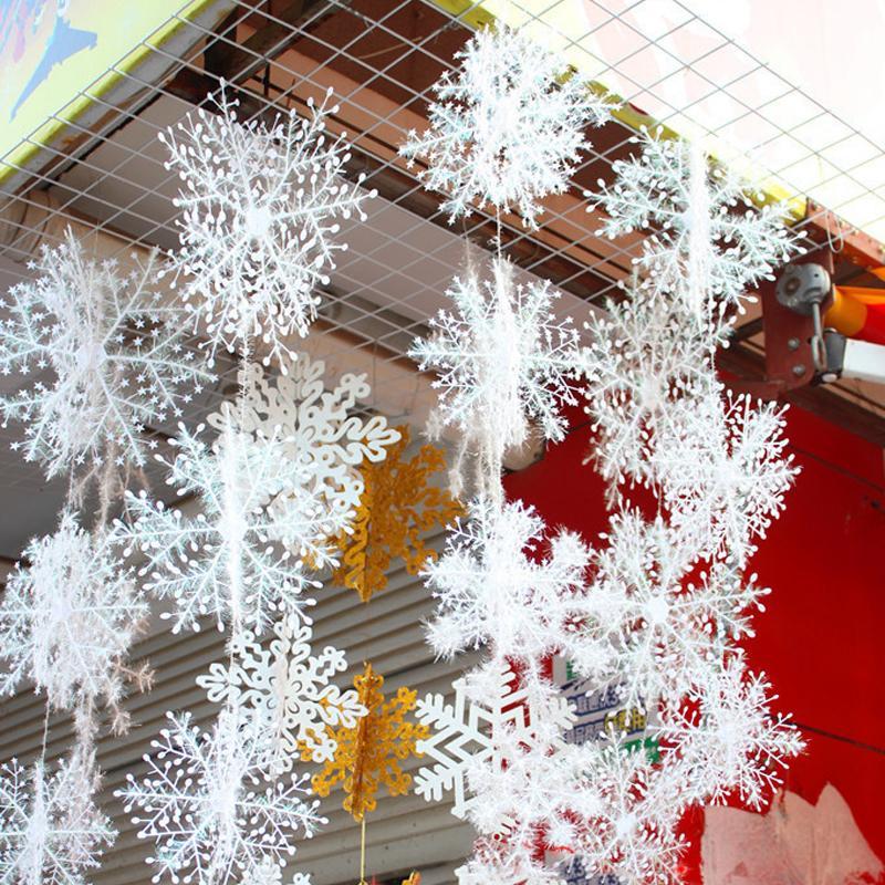 6/11/15/18/23/30cm Snowflake Christmas Decoration Snowflake Christmas Tree Ornament Pendant Plastic Snow Flake Xmas Party Supplies