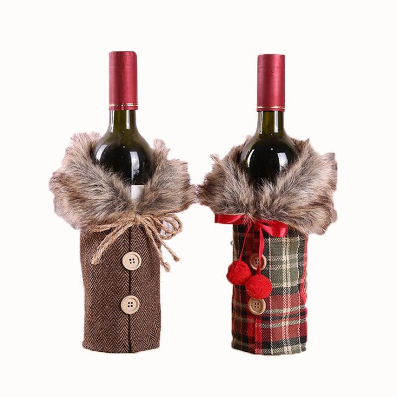 Großhandel Weihnachtsweinflasche Abdeckung Dekoration Geschenk Weihnachten Home Party Weinflasche Bow Plaid Leinen Fluff Kleidung Ornament