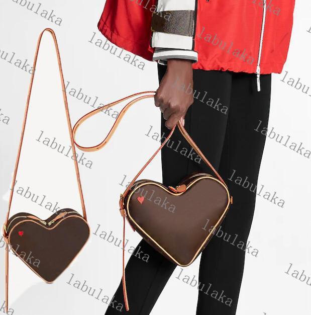 Game M57456 на Coeur Mini Desinger Red Heart Sumbag Suadbage Falf Кожа Женщины Холст Тиристый Crossbody Вечерняя Сумка Долж