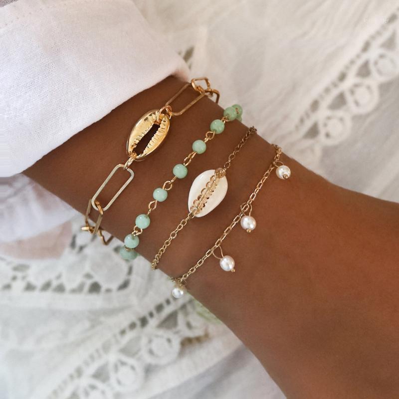 Charm Bracelets 4pcs / set de moda Cadenas de concha Pulsera Set para mujeres Bohemia Beads Faux Pearls Bangle Girls Moda Joyería Regalo1
