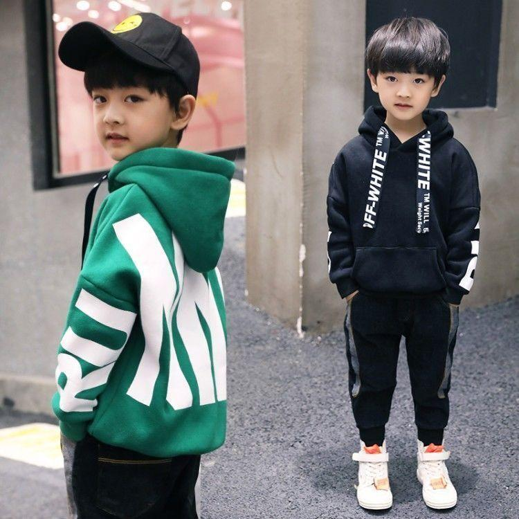 Cada meninos hoodies Nova chegada meninos meninas outono inverno manga longa camisola padrão letra padrão outerwear criança mais veludo hoodies lj201127