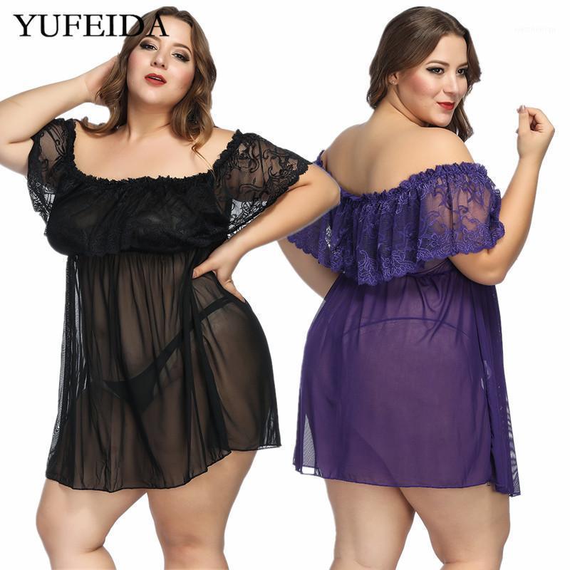 6XL Seksi Kadınlar Lingerie Nightgown Sıcak Erotik Dantel Gece Elbise Perspektif Pijama Bayanlar Seksi Geceliklerle Thong Pijama Set1