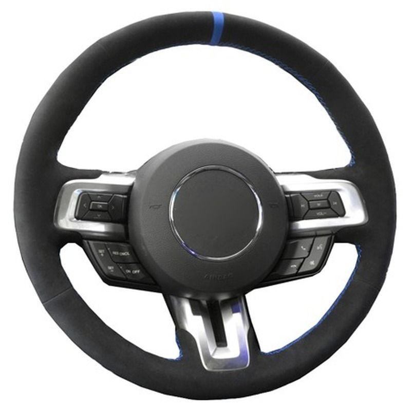 DIY El Dikiş Araba Direksiyon Kapak Süet Deri Ford Mustang 2015 2016 Için 2017 2018 2019-Şimdi Oto Araba Styling