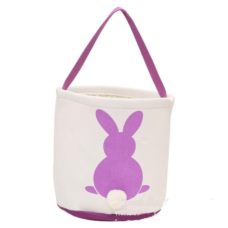 Easter Rabbit Basket Easter Bunny Bags Rabbit Printed Canvas Tote Bag Egg Candies Baskets 4 Colors 269 G2
