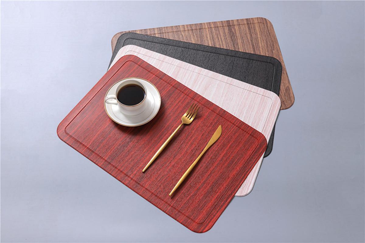 Mapa de mesa PU de cuero PU para comedor Imitación de madera Mueble de grano aislamiento de calor antideslizante Moderno Moderno placas de tazón Posavasos CCA3299