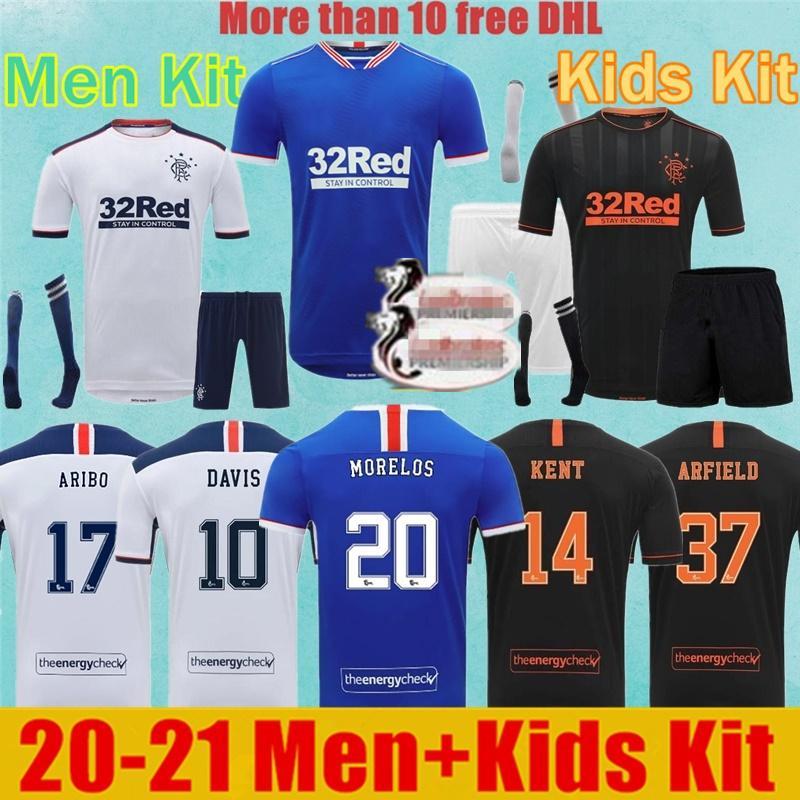 Hommes + enfants Kit 20 21 Rangers Glasgow Rangers FC GERRARD Soccer Jerseys 2020 2021 Glasgow DEFOE Dauis Domicile Extérieur 3 Chemises de football
