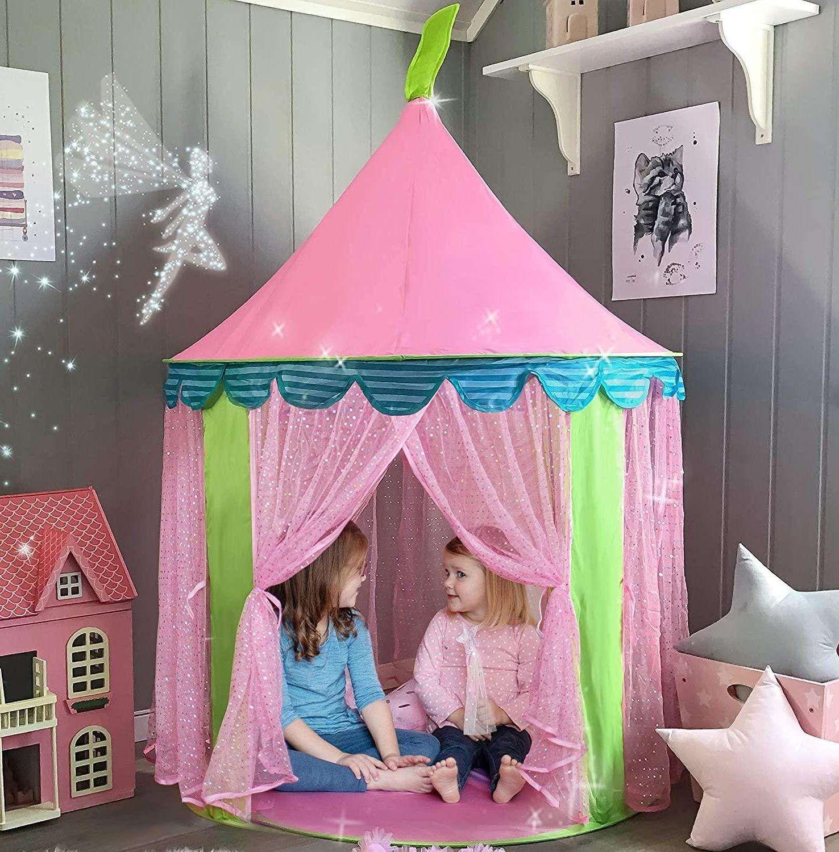 المحمولة الأطفال خيمة تي بيي الاطفال الوردي الأميرة القلعة للفتيات الطفل صغير اللعب منزل teepee المقصورة فتاة خيام هدية عيد