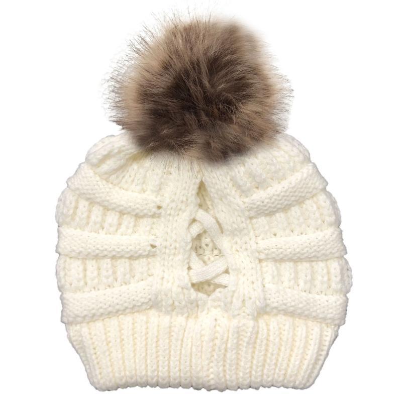 Les femmes d'hiver Bonnet Bonnet avec pompon amovible Croisillon Calotte 50pF