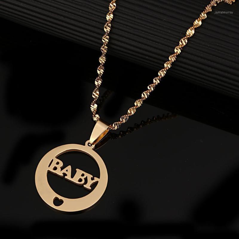 Нержавеющая сталь Модный круглый Детское кулон Ожерелье Любовь Сердце Детя Симпатичные Цепочки Ювелирные Изделия1