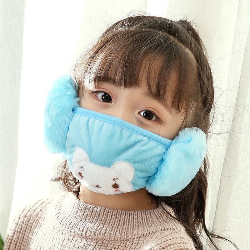 DHL Enfants oreilles mignon de protection Bouche Animaux en peluche brodent Design 2 en 1 Masques Visage Hiver Enfant Enfants Bouche moufles antipoussière PPF2465